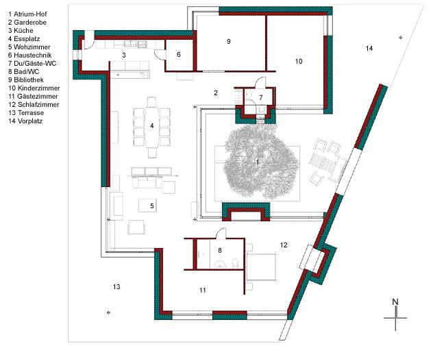 Grundriss architektur galerie von wohndesign for Atriumhaus bauen